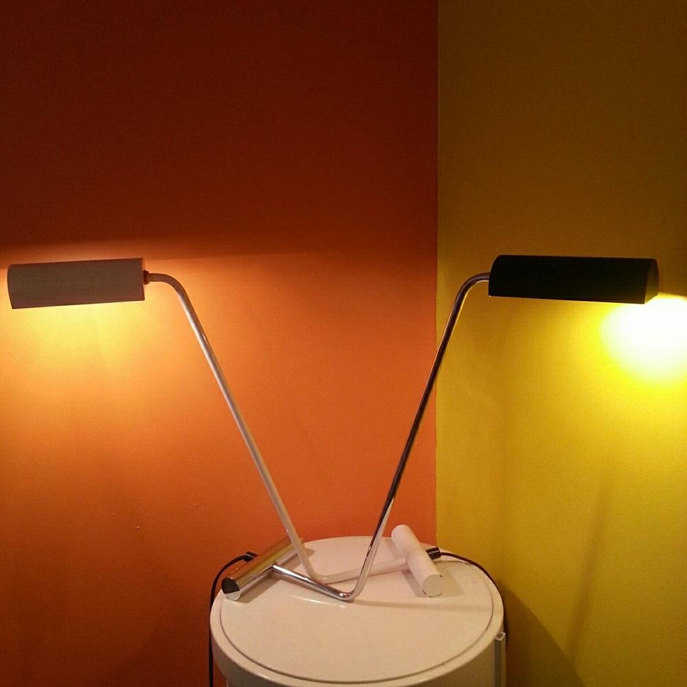Paire de lampes : chromée et blanche