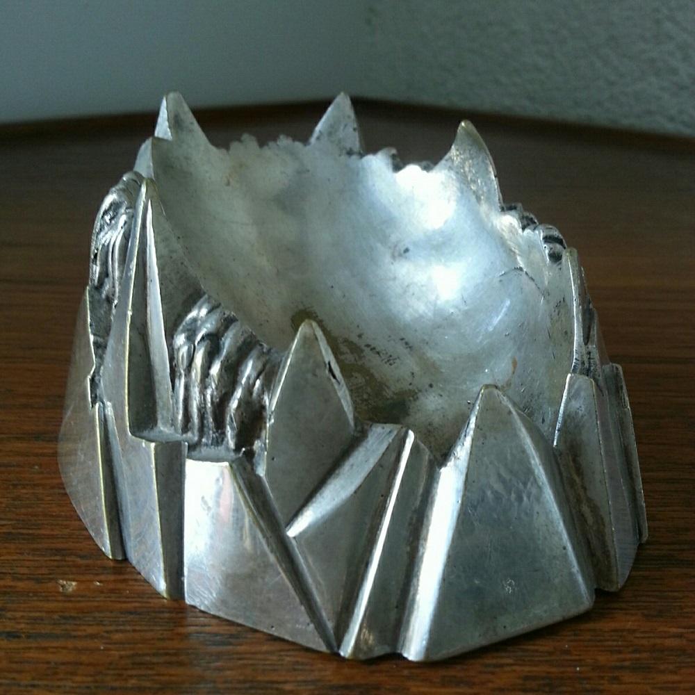cendrier montagne art deco bronze argente (1)