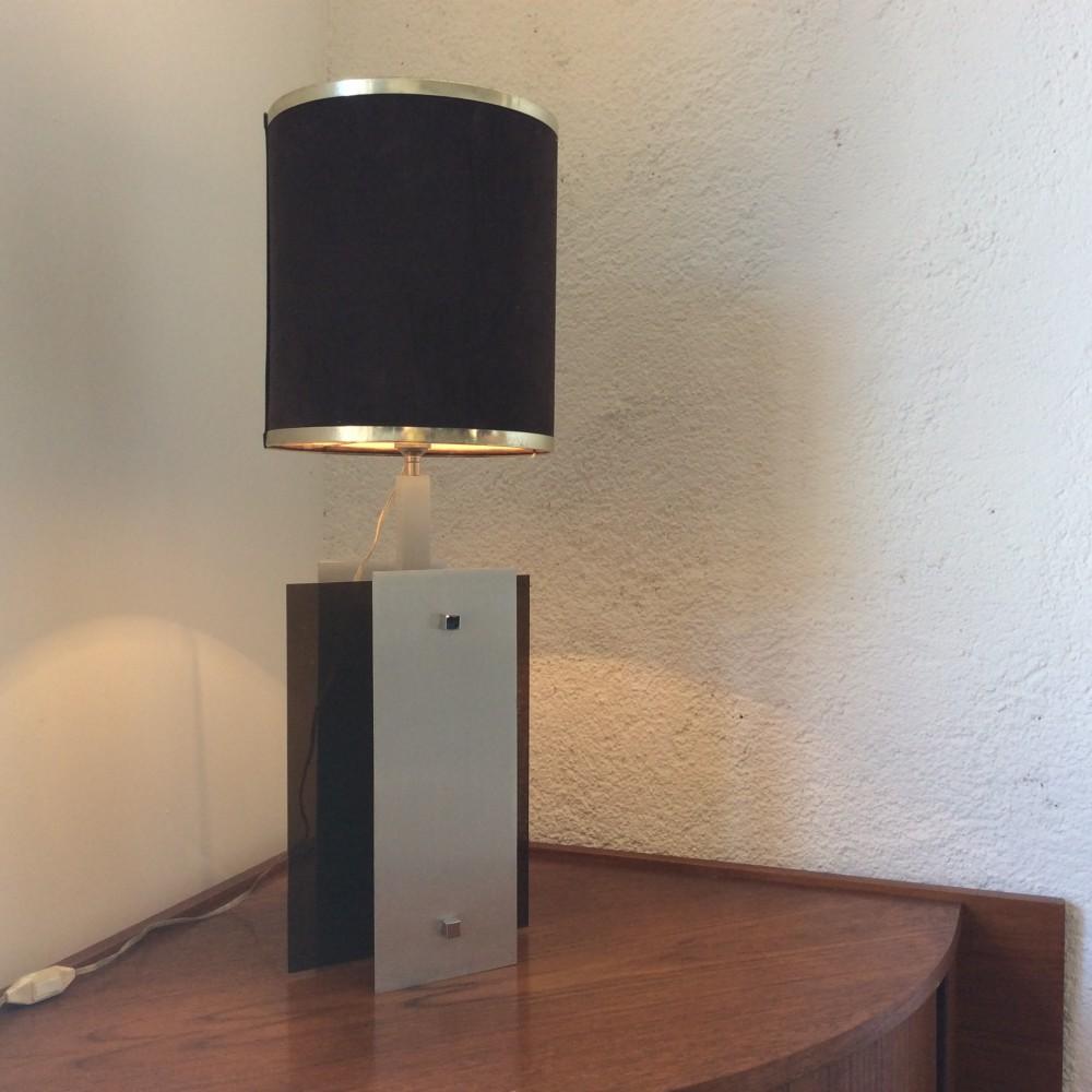 lampe plexi fumé et aluminium (1)