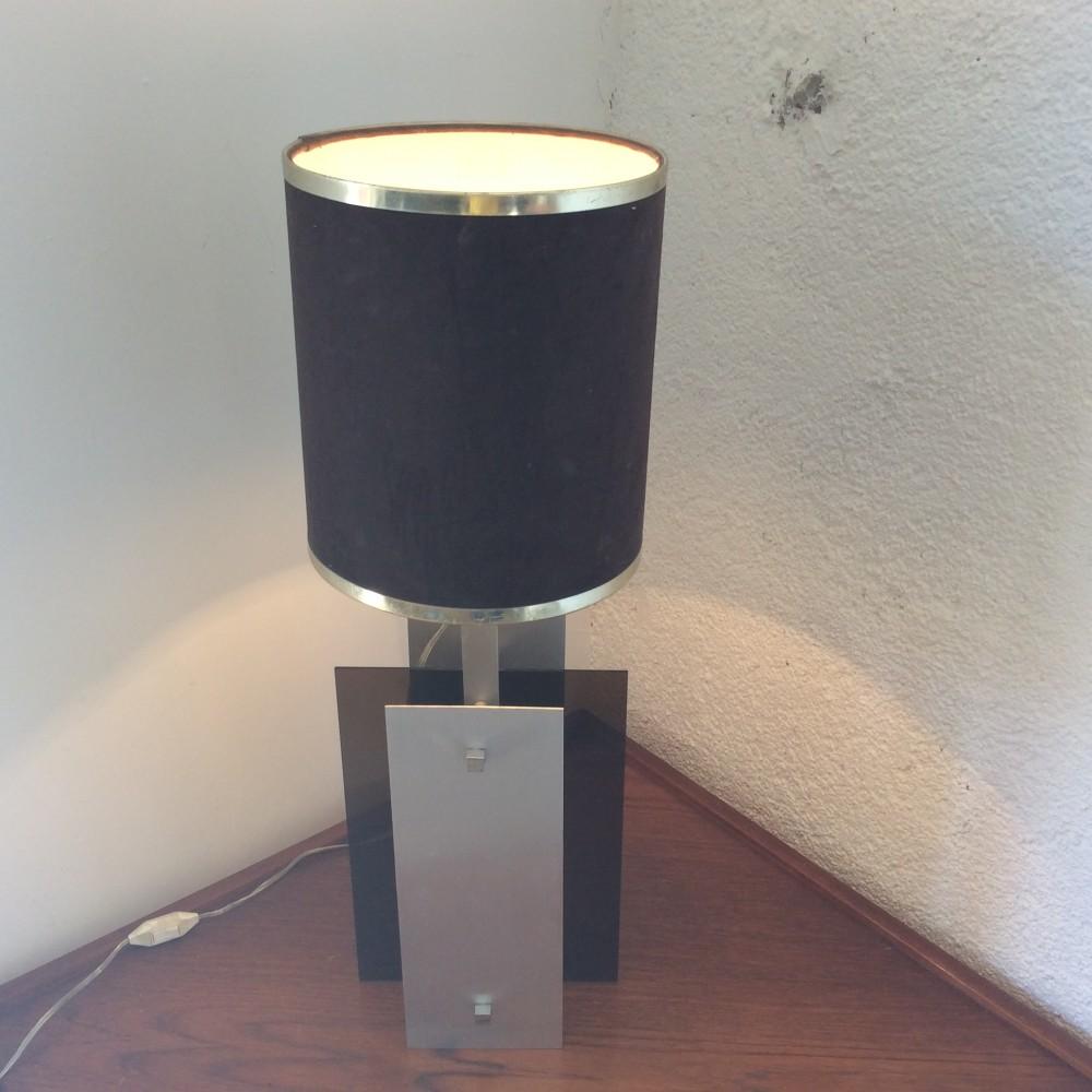 Lampe plexi fumé et aluminium