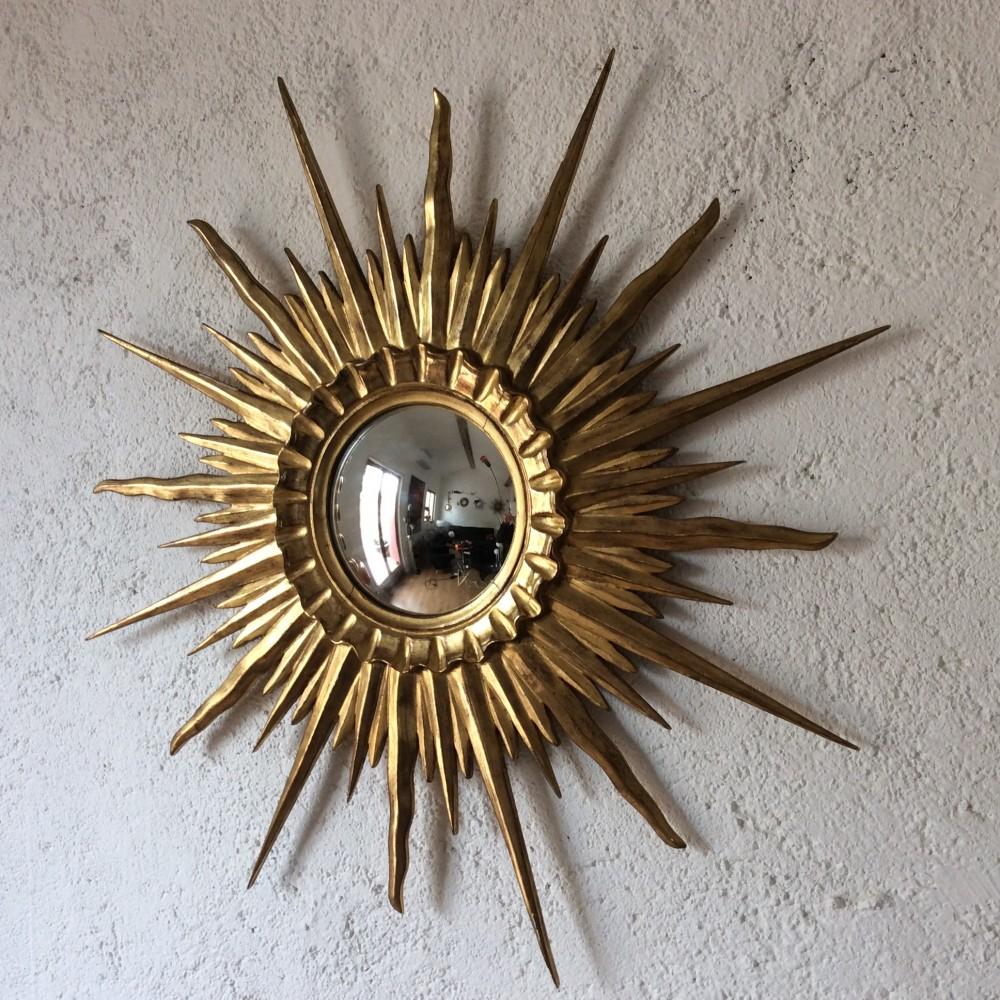 miroir sorciere soleil bombé bois doré or fin (1)