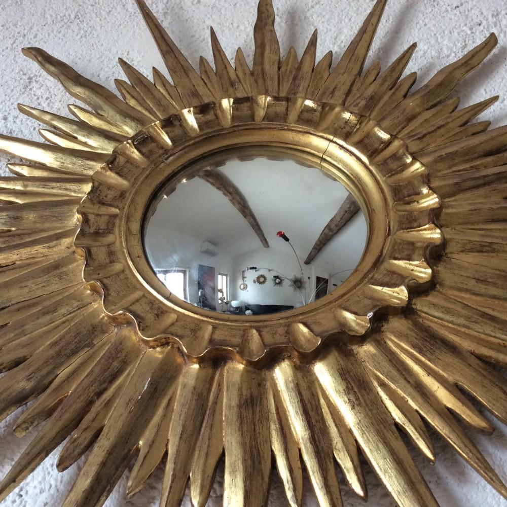 miroir sorciere soleil bombé bois doré or fin (3)