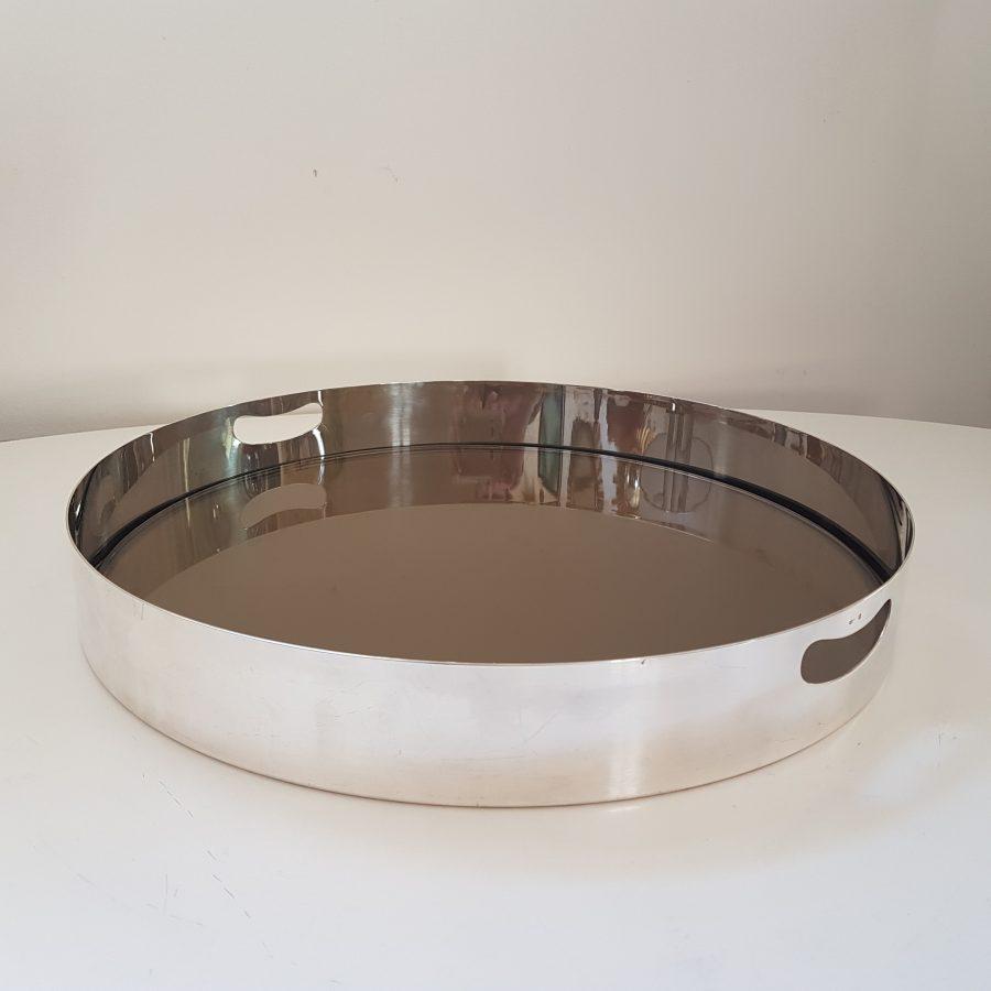 Plateau design en métal argenté