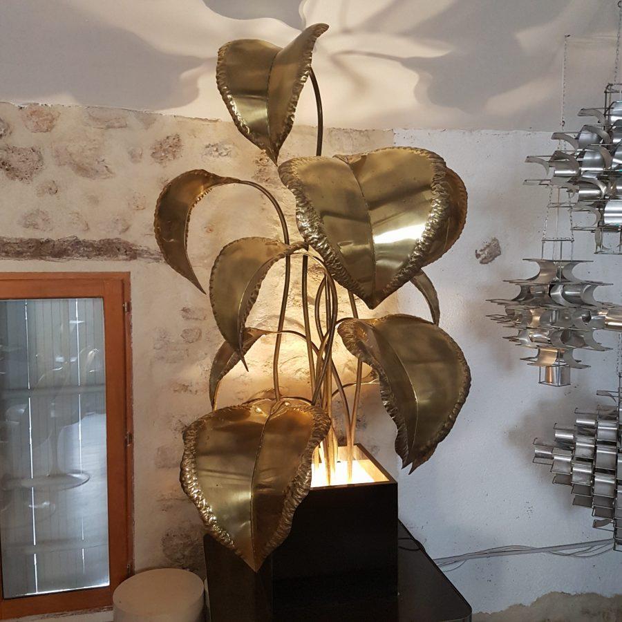 Grande Lampe Fleur En Metal Dore Lampodrome