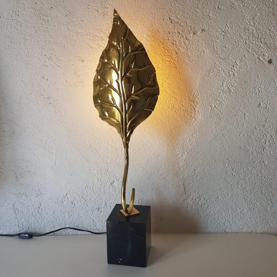 Lampe feuille dorée