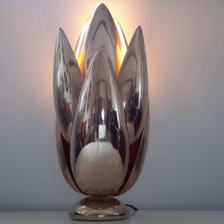 Lampe fleur dorée Atelier Michel Armand