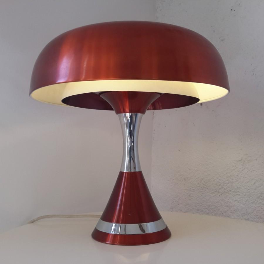 Grande lampe champignon cuivrée